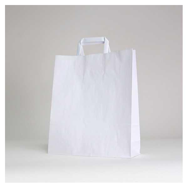White flat handles bag